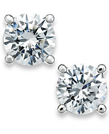 X3 Certified Diamond Stud Earrings in 18k White Gold (1/2 ct. t.w.), Created for Macy's