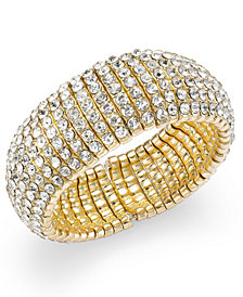 I.N.C. Gold-Tone Crystal Stretch Bracelet, Created for Macy's