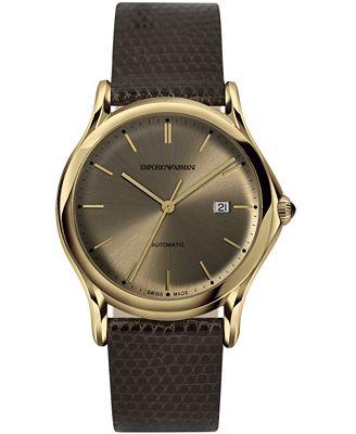 Emporio Armani Men's Swiss Automatic Dark Brown Leather Strap Watch 42mm ARS3004