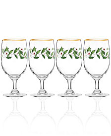 Lenox Holiday Set of 4 Goblets Glasses