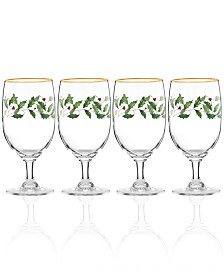 Lenox Holiday Goblet Glass, Set of 4
