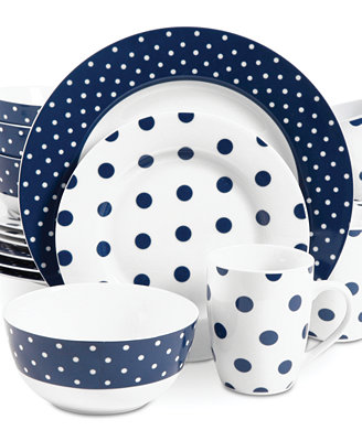 Isaac Mizrahi Dots Luxe Navy 16 Pc Set Service For 4