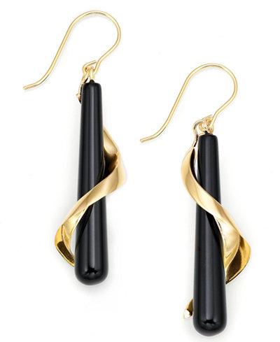 14k Gold Onyx Spiral Drop Earrings