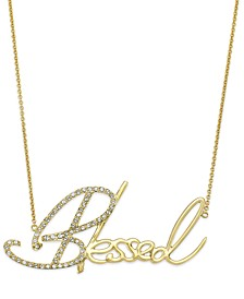 "Swarovski Crystal ""Blessed"" Pendant Necklace in Platinum over Sterling Silver, 18"" + 4"" extender (Also Available in 14K Gold over Sterling Silver)"