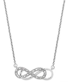 Diamond Double Infinity Pendant Necklace in Sterling Silver (1/10 ct. t.w.)