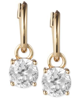Image of Anne Klein Gold-Tone Crystal Drop Hoop Earrings