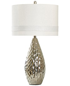 Silver-Finish Painted Ceramic Table Lamp