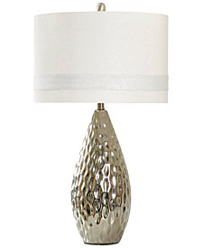 StyleCraft Silver-Finish Painted Ceramic Table Lamp