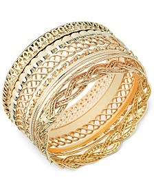 GUESS Textured Bangle Bracelet Set