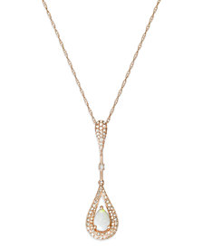 Opal (1/3 ct. t.w.) and Diamond (1/3 ct. t.w.) Teardrop Pendant Necklace in 14k Rose Gold