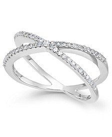 Diamond Crossover Ring in 10k White Gold (1/4 ct. t.w.), Created for Macy's