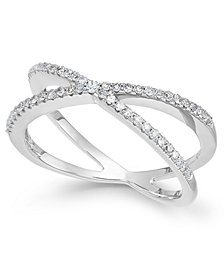 wrapped™ Diamond Crossover Ring in 10k White Gold (1/4 ct. t.w.), Created for Macy's