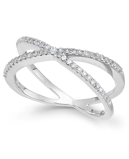 crossover rings white pave over black and diamond band shop