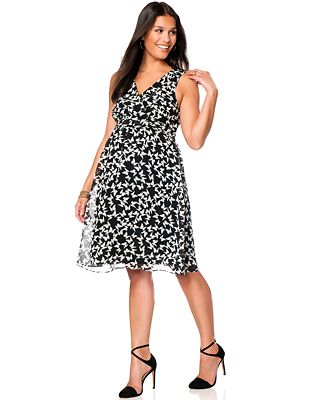 Motherhood Maternity Sleeveless Butterfly-Print Dress - Maternity ...