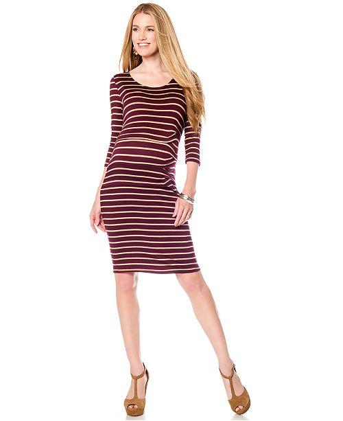 Jessica Simpson Maternity Striped Bodycon Dress