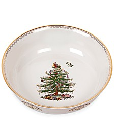 "Christmas Tree Gold Large 10"" Bowl"