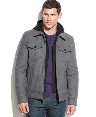 GUESS Wool-Blend Hooded Bomber Jacket - Coats &amp Jackets - Men - Macy&39s
