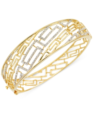 Sis by Simone I Smith White Crystal Greek Key Bangle Bracelet in 18k Gold over Sterling Silver
