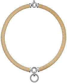Diamond Circle Pendant Mesh Necklace in 14k Vermeil and Sterling Silver (3/4 ct. t.w.)