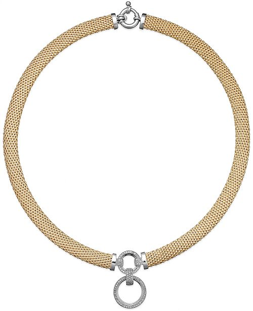 Macy's Diamond Circle Pendant Mesh Necklace (3/4 ct. t.w.) in 14k Vermeil & Sterling Silver