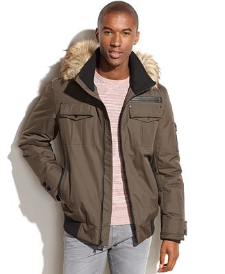 Sean John Hooded Faux-Fur-Trim Bomber Jacket - Coats & Jackets ...