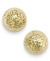 Italian Gold Diamond-Cut Ball Stud Earrings in 14k Gold