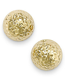 Italian Gold Diamond-Cut Ball Stud Earrings in 14k Gold