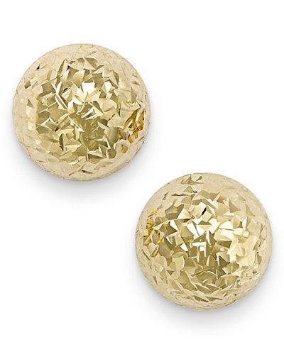 Italian Gold Diamond Cut Ball Stud Earrings In 14k