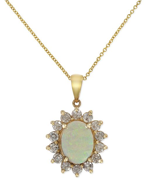 EFFY Collection EFFY® Opal (1-7/8 ct. t.w.) and Diamond (1 ct. t.w.) Pendant Necklace in 14k Gold