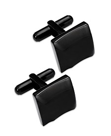 Sutton by Rhona Sutton Black Ion-Plated Stainless Steel Sculpted Square Cuff Links