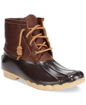 Women'S Saltwater Duck Booties Women'S Shoes in Tan/Dark Brown