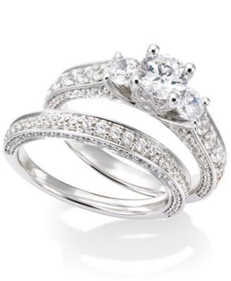 Certified Diamond ThreeStone Engagement Ring Bridal Set in 14k