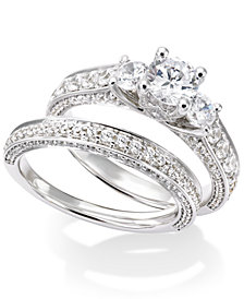 Certified Diamond Three-Stone Engagement Ring Bridal Set in 14k White Gold (2-1/2 ct. t.w.)