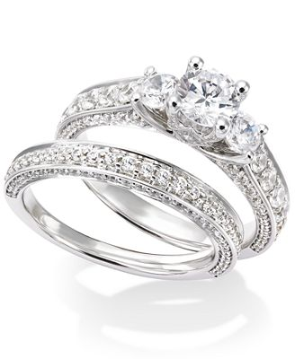 Certified Diamond Three Stone Engagement Ring Bridal Set in 14k