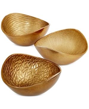 Simply Designz Serveware Set of 3 Metallic Organic Nut Bowls