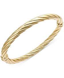 Italian Gold Twist Hinge Bangle Bracelet in 14k Gold or White Gold