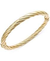 fe698786e Italian Gold Twist Hinge Bangle Bracelet in 14k Gold or White Gold
