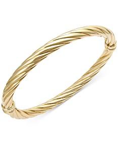 48d16672671 Italian Gold Twist Hinge Bangle Bracelet in 14k Gold or White Gold