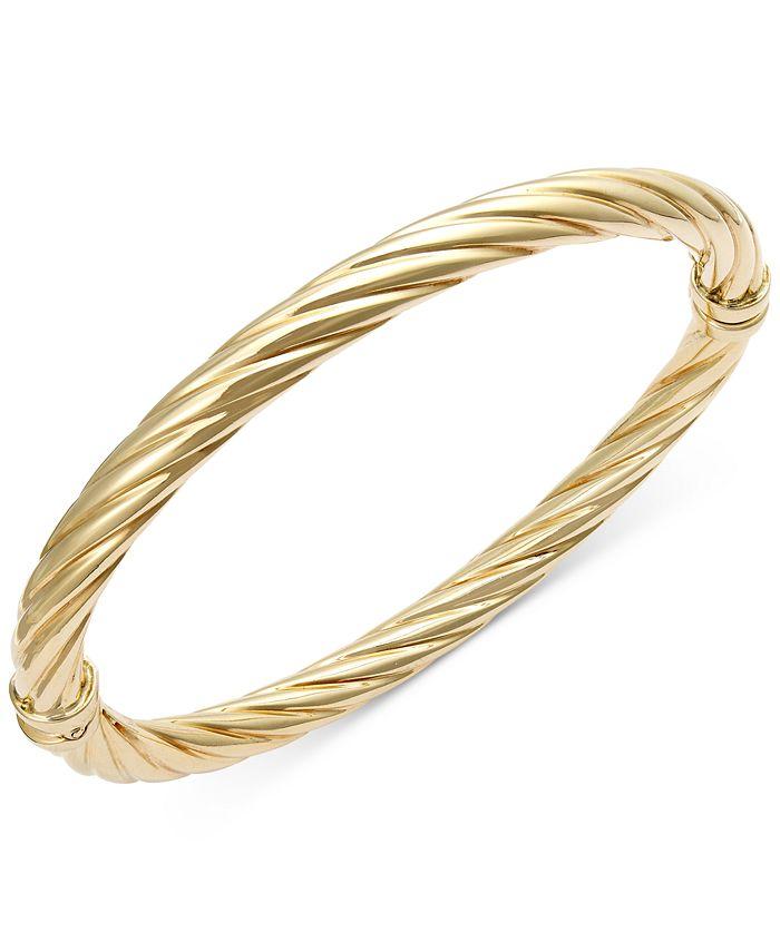 Italian Gold - Twist Hinge Bangle Bracelet in Italian 14k Gold or White Gold
