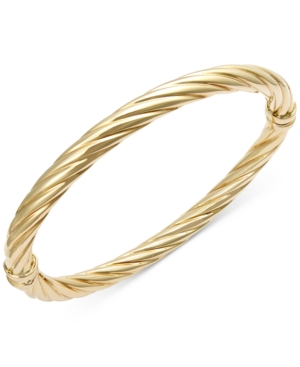 Twist Hinge Bangle Bracelet in 14k Gold or White Gold