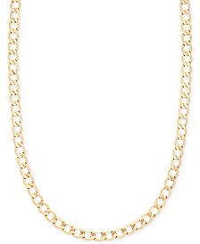 "Italian Gold 22"" Curb Chain Necklace in 14k Gold"