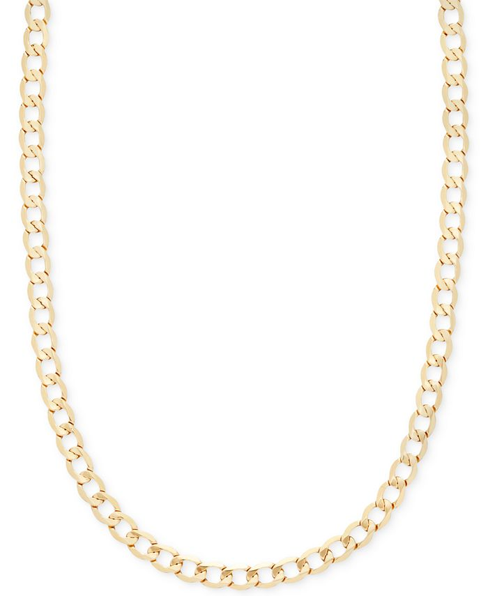 """Italian Gold - Curb Chain 22"""" Necklace in Italian 14k Gold"""