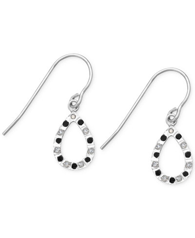 Black and White Diamond Accent Teardrop Earrings in Sterling Silver