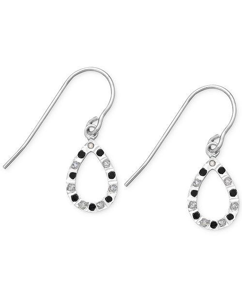 Macy's Black and White Diamond Accent Teardrop Earrings in Sterling Silver