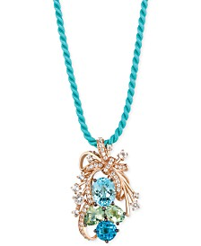 Le Vian Crazy Collection® Blue Topaz, Green Quartz and White Topaz Cluster Pendant Necklace in 14k Rose Gold (10-1/5 ct. t.w.), Created for Macy's