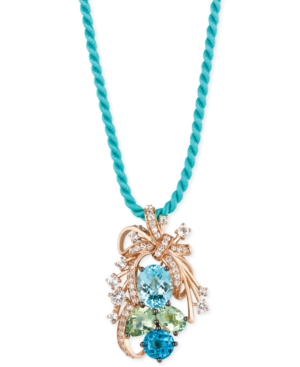 Le Vian Crazy Collection Blue Topaz, Green Quartz and White Topaz Cluster Pendant Necklace in 14k Rose Gold (10-1/5 ct. t.w.), Created for Macy's
