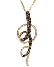 Chocolate and White Diamond Swirl Pendant Necklace in 14k Yellow Gold (3/4 ct. t.w.)