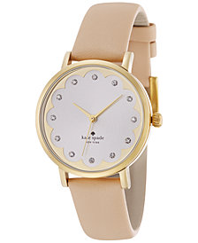kate spade new york Women's Metro Vachetta Leather Strap Watch 34mm 1YRU0586