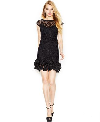 Jessica Simpson Floral-Lace Ruffled-Hem Sheath - Dresses - Women ...