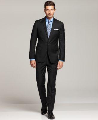 Black dress shirt under black suit